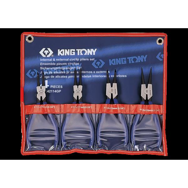 Conjunto c/ 4 Alicates p/ Anéis Externo e Internos - 42114GP - King Tony