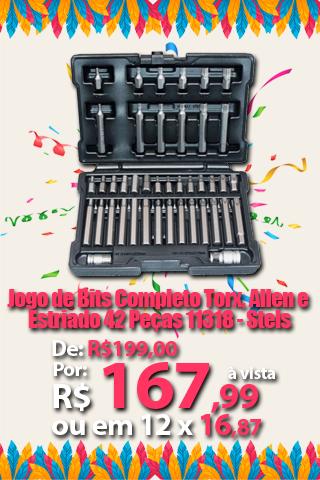 Jogo de Bits Completo Torx, Allen e Estriado 42 Peças 11318 - Stels