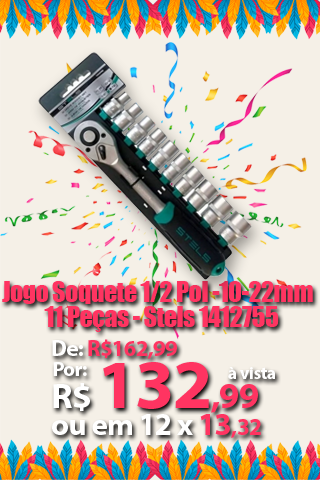Jogo Soquete 1/2 Pol -10-22mm - 11 Peças - Stels 1412755